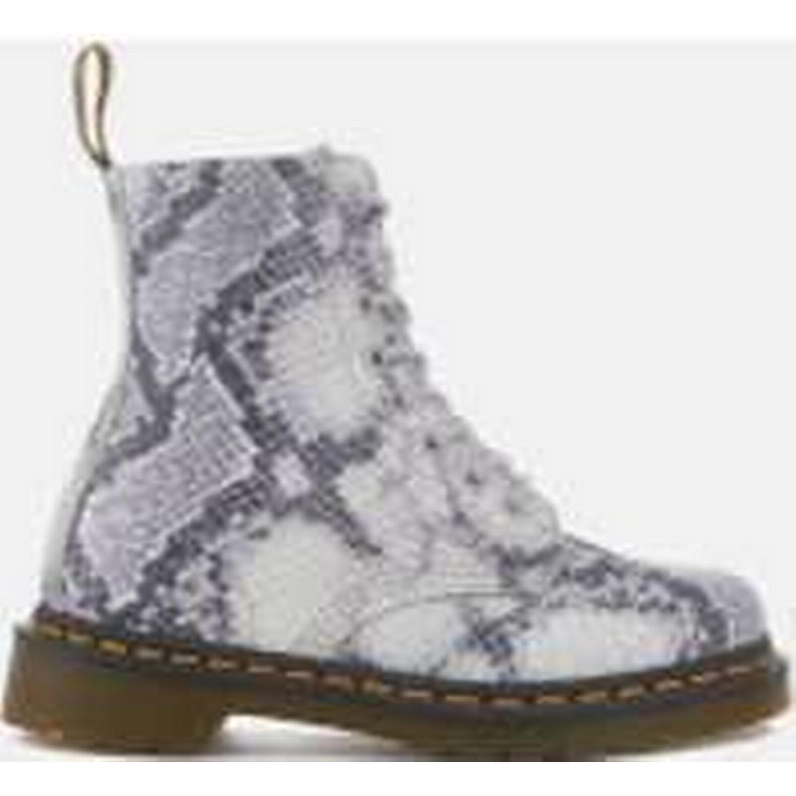 Dr. Martens Women's - Pascal Snake 8-Eye Boots - Women's Light Grey 93fb3e