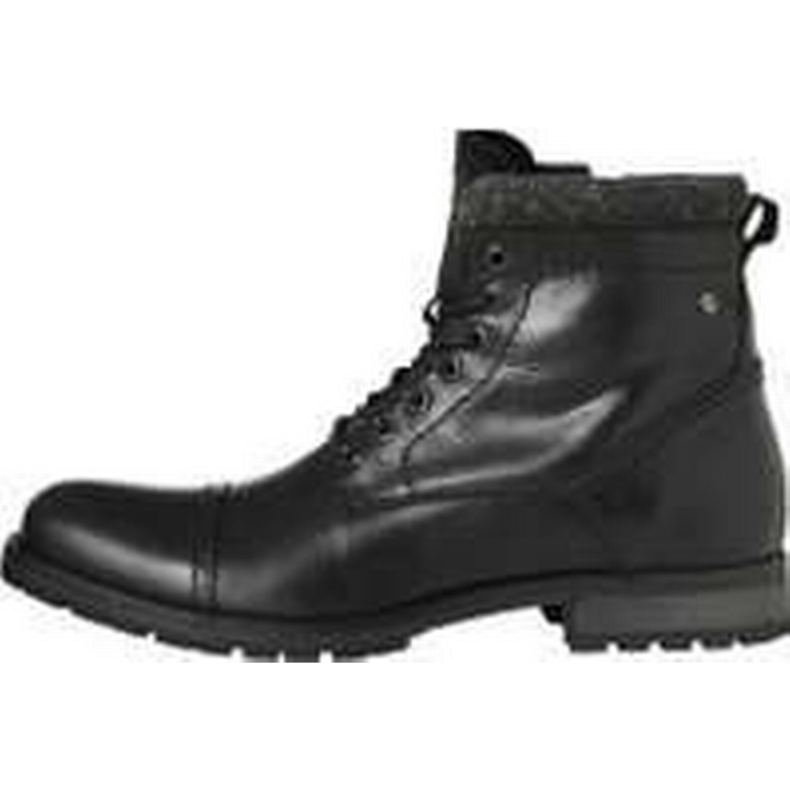 JACK & JONES (45) Leather Boots Men Black (45) JONES b4f23b