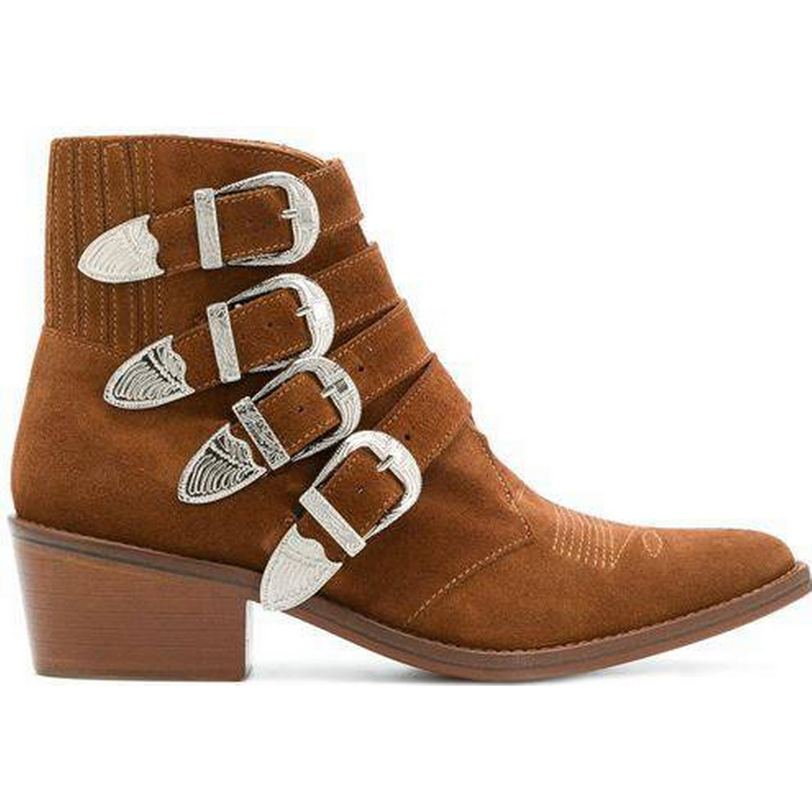 Toga Pulla Boots 'Buckle Strap' Suede Ankle Boots Pulla COGNAC SUEDE a5a32a