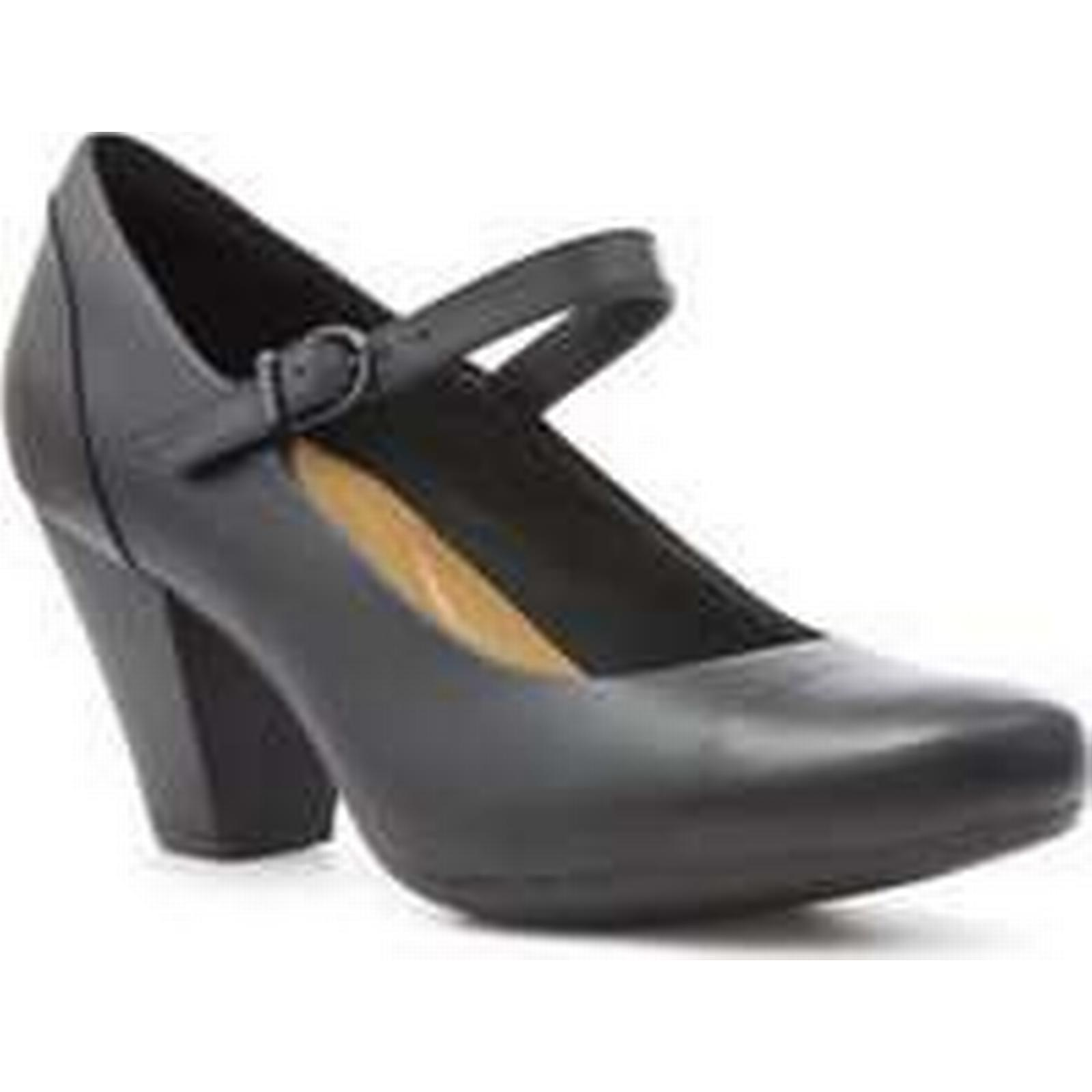 Clarks Black Womens Black Clarks Leather Heeled Court Shoe 6a7c12
