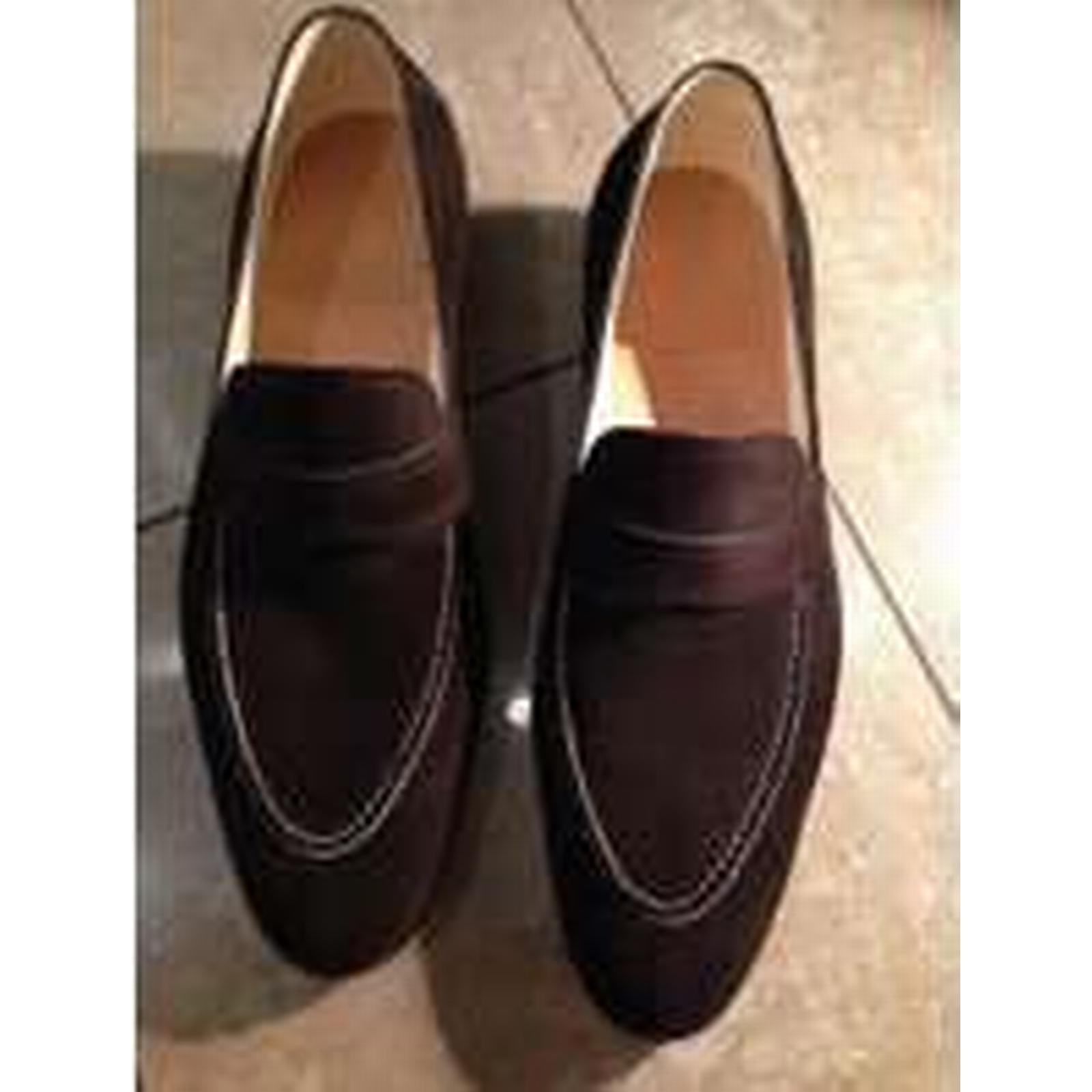 Bonanza (Global) New Handmade Men brown suede shoes, Moccasins, Men suede leather shoes, suede Shoes for men 246b12