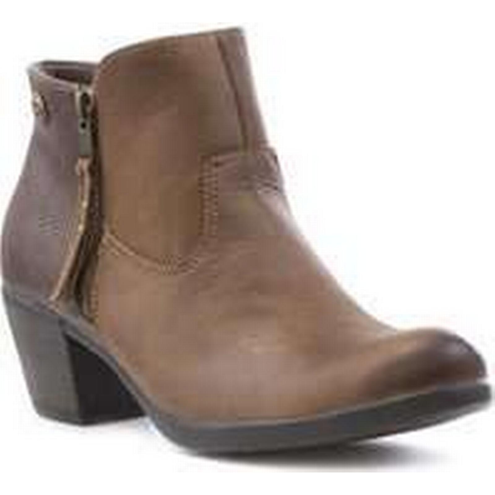 Earth Block Spirit Womens Brown Leather Block Earth Heel Boot 6e30e3