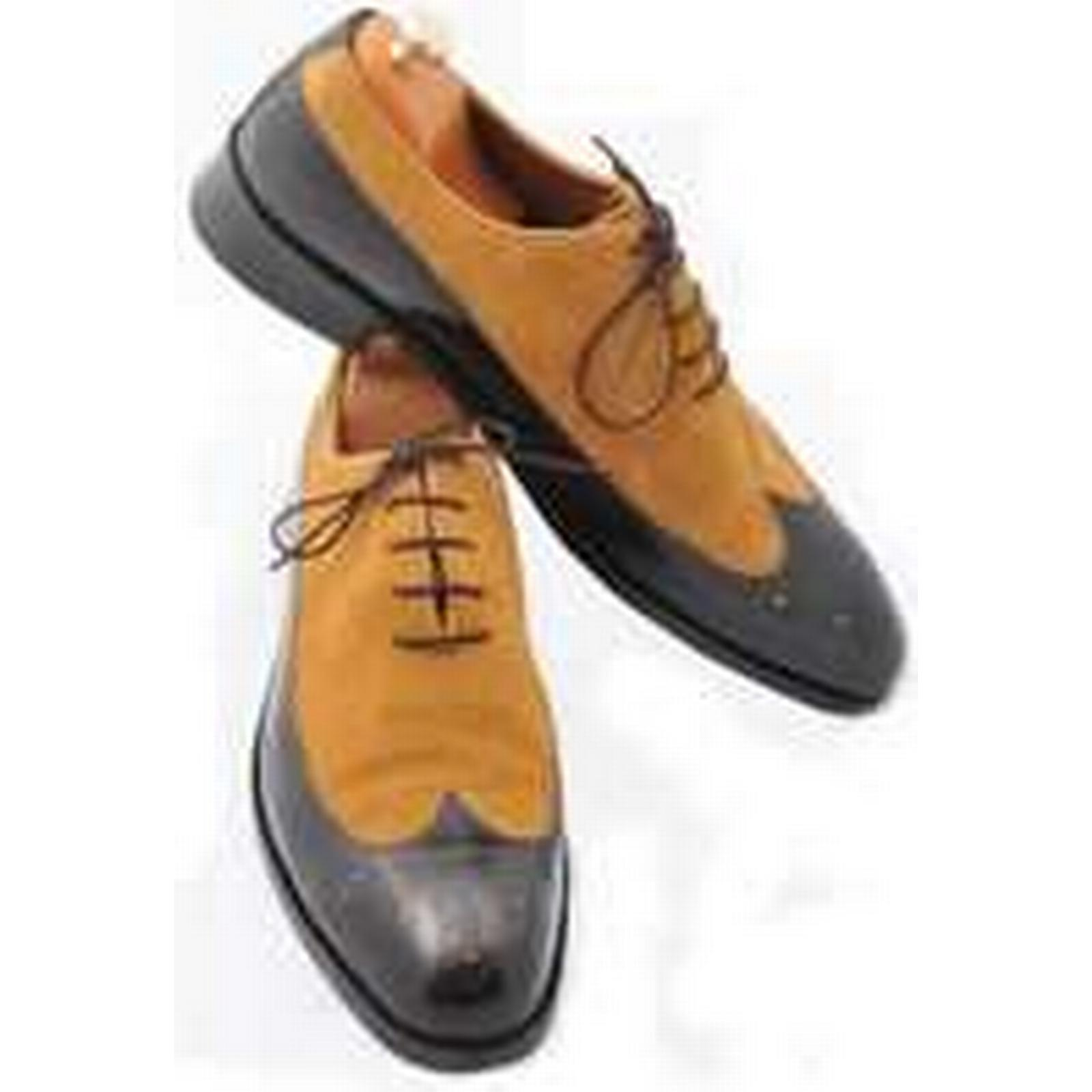 Bonanza (Global) Handmade Men Two Men Tone Wingtip Formal Shoes, Men Two Black And Tan Suede Shoes 3dcb6e