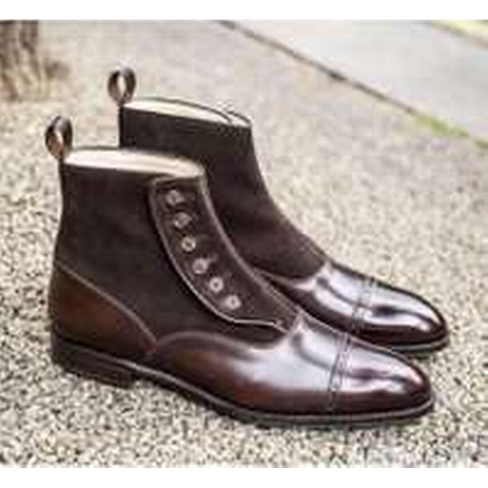 Bonanza (Global) Handmade Mens Brown Ankle Button Boots, Men Brown Ankle Brown Boots, Men Leather Boot ad95b5