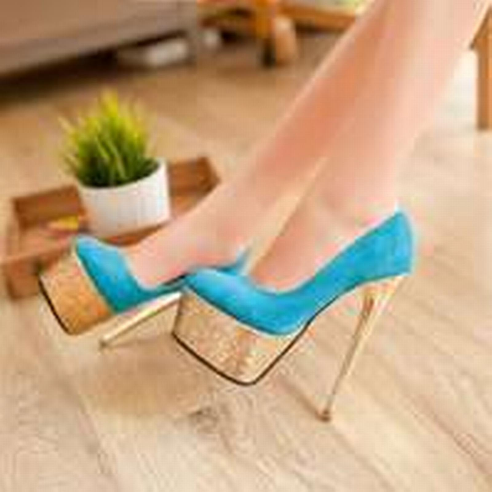 Bonanza (Global) PP245 sweet thick plating heel pump with thick sweet sequin sole, US Size 4-9, blue beb409