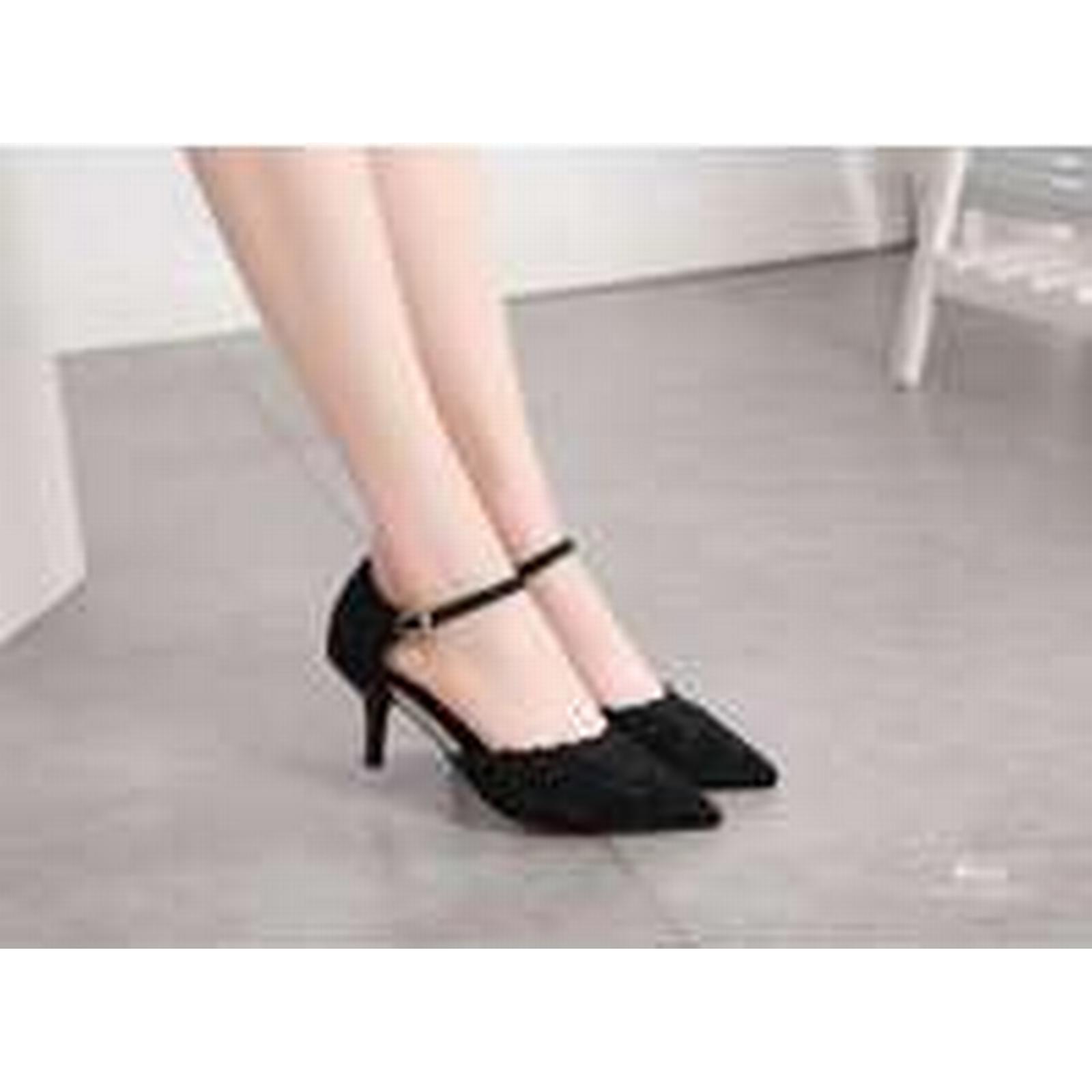 Bonanza (Global) ps336 creative rhinestones 4-8,black pointy sandals,hollow body,US Size 4-8,black rhinestones 46740c