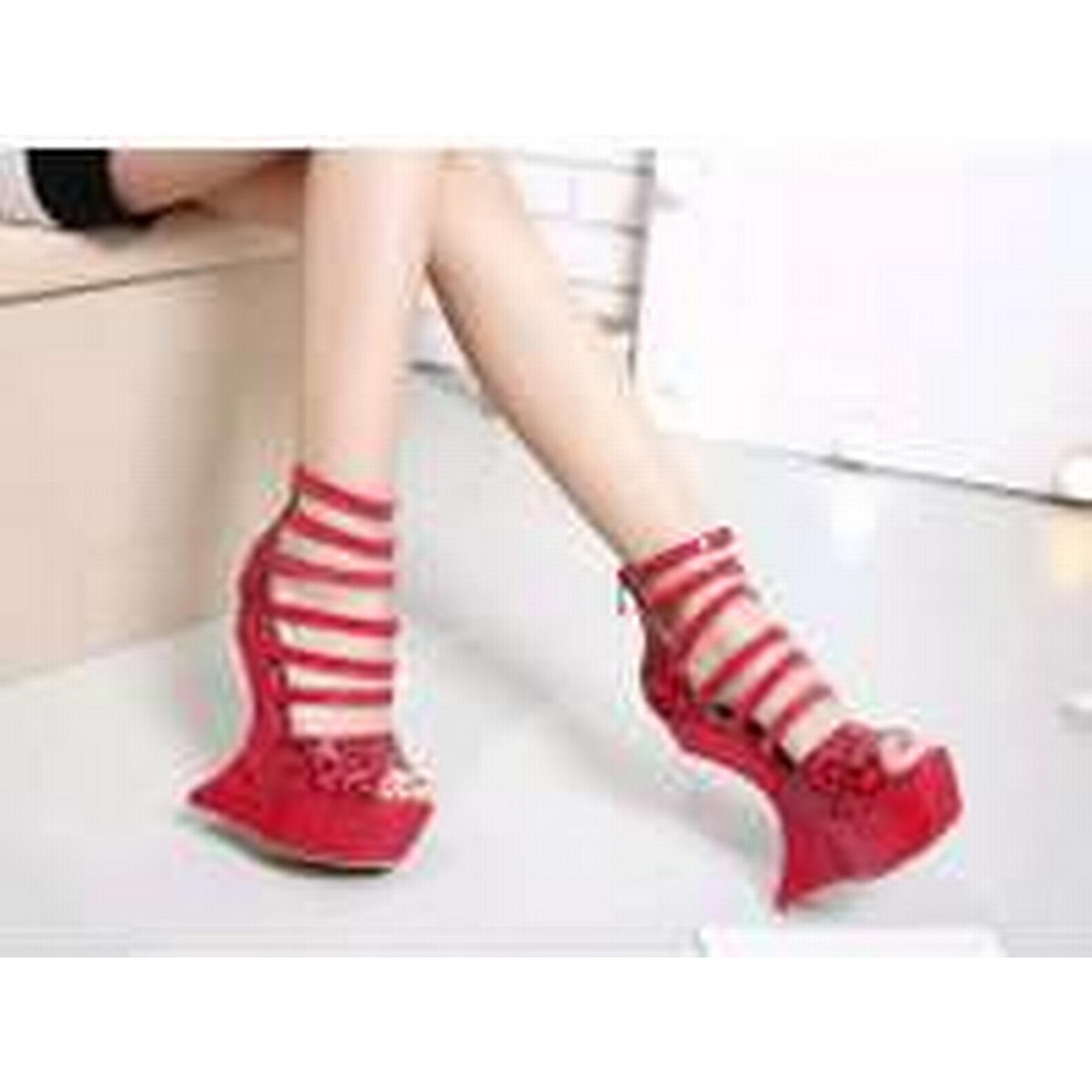 Bonanza sandals, (Global) ps328 cutie strappy alien wedge sandals, Bonanza US Size 4-9, red 9cd0b5