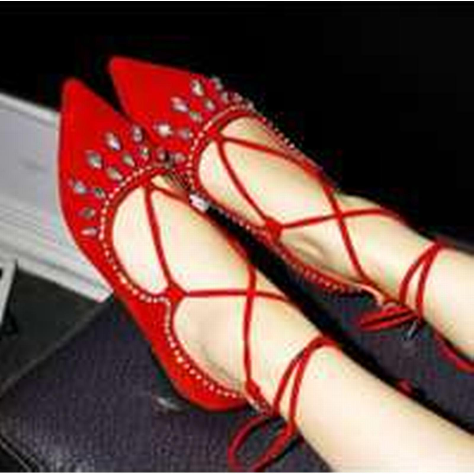 Bonanza pumps, (Global) pp297 Extra size gladiator pointy flat heeled pumps, Bonanza US Size 2-10.5 red 6b33d6