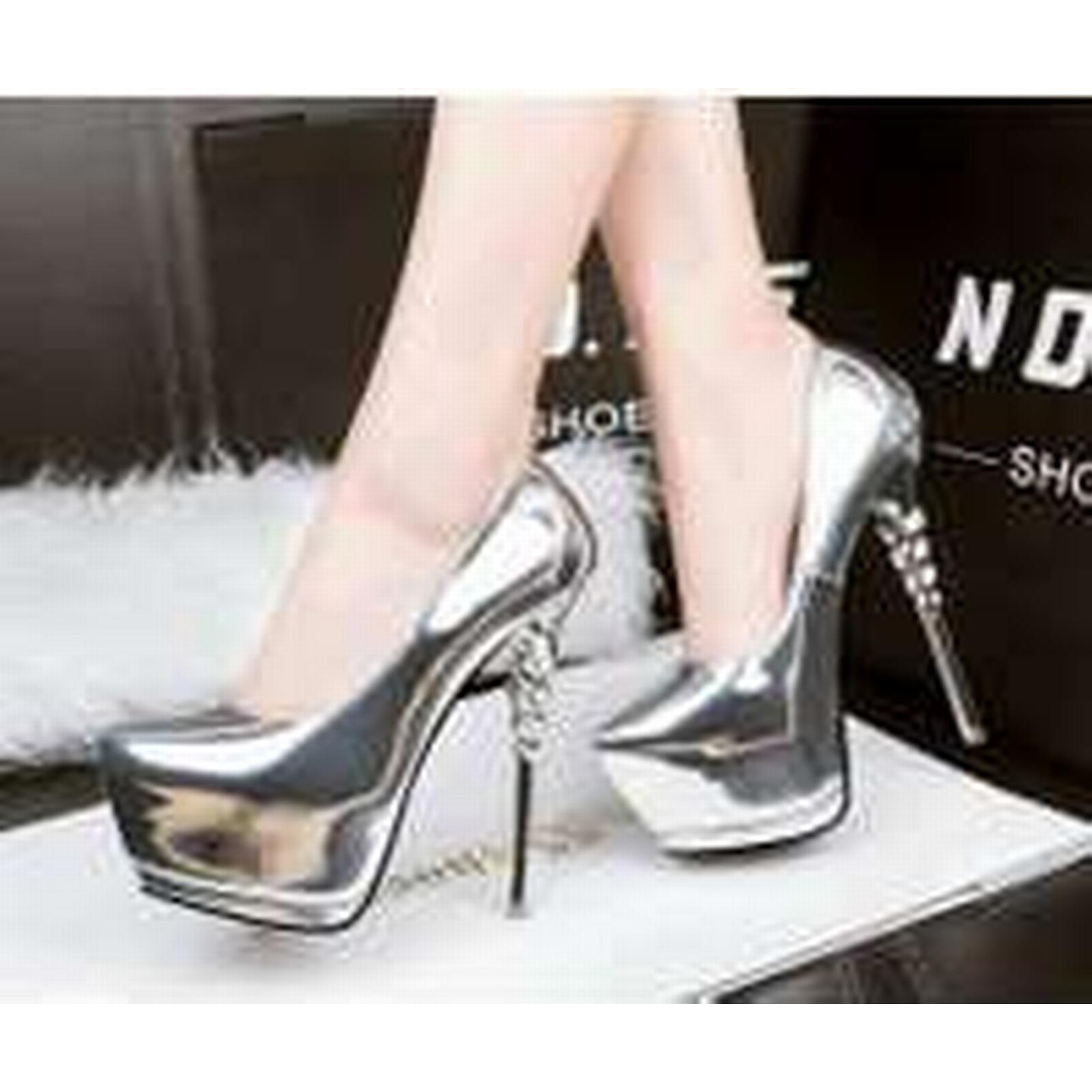Bonanza (Global) pp271 Stunning twisted high US heel pump, patent leather, US high Size 5-8.5, silver c415fa