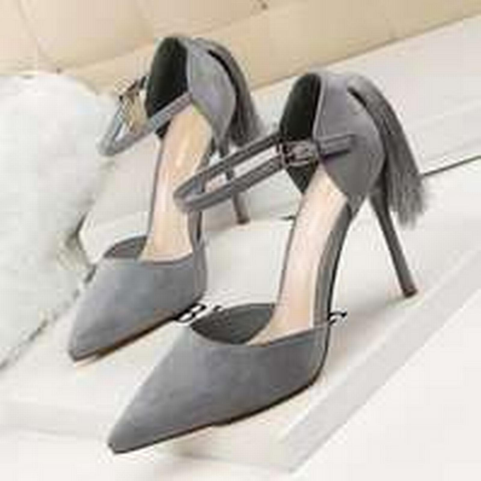 Bonanza (Global) sandals pp257 elegant pointy ankle sandals (Global) w big fringe, nubuck, US Size 4-8, gray 57545d