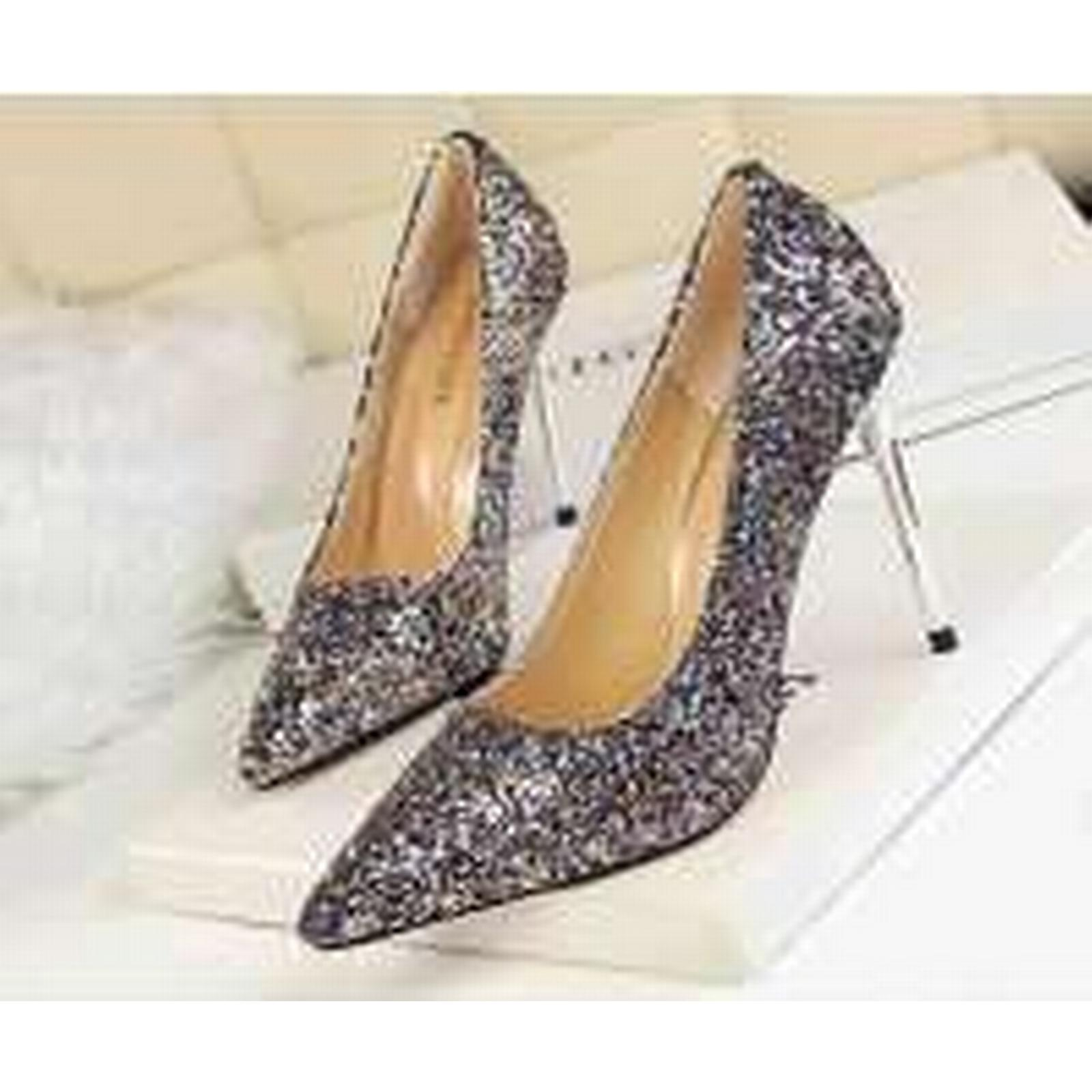 Bonanza leather, (Global) pp340 Luxury sequined pointy pumps, PU leather, Bonanza US Size 4-8.5, redmulti-color 10d1f5