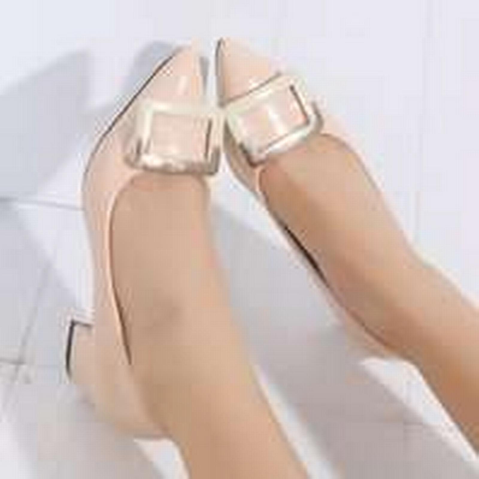 Bonanza (Global) pointy pp187 Cutie square metallic buckles pointy (Global) pump,size 34-38, apricot 9cd9ec