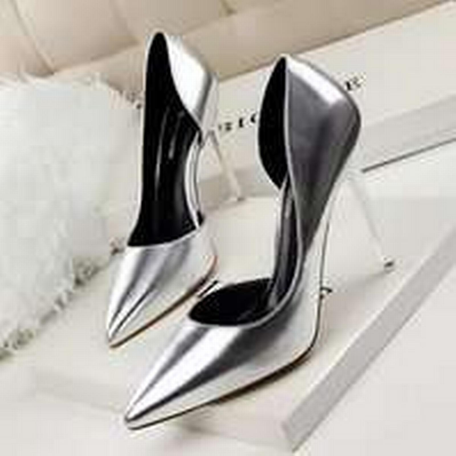 Bonanza color (Global) pp253 stunning gradient color Bonanza pointy pump, patent leather, US Size 4-8, silver 96cb72
