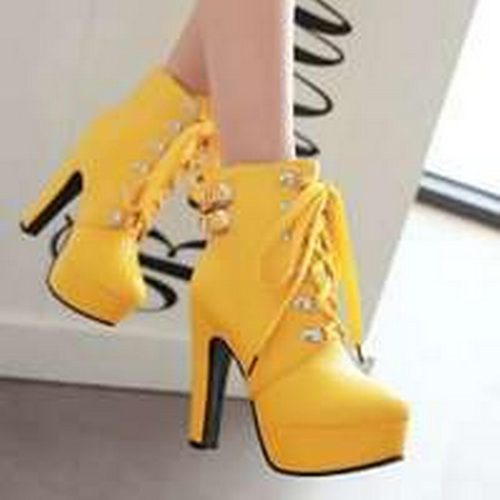 Bonanza (Global) PB106 Stunning 4-9, buckles booties,US size 4-9, Stunning yellow 4b49b1
