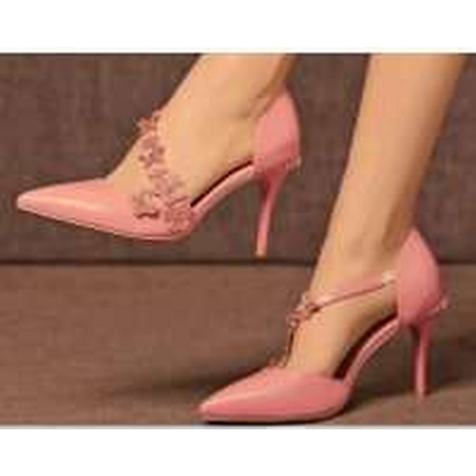 Bonanza (Global) ankle pp328 Amazing 3D flowers ankle (Global) pump, genuine leather, size 3-9 pink 332157