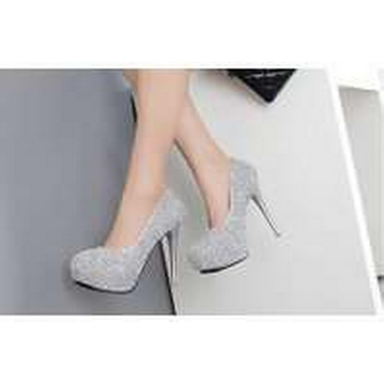 Bonanza (Global) pp230 Elegant rhinestones high-heeled gray pumps, US Size 4-8, gray high-heeled 87065e