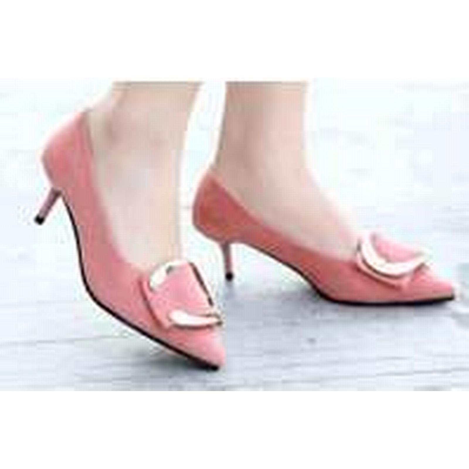 Bonanza (Global) US pp312 Elegant pointy pump w gold buckle, US (Global) Size 4-9.5 pink 3341fd