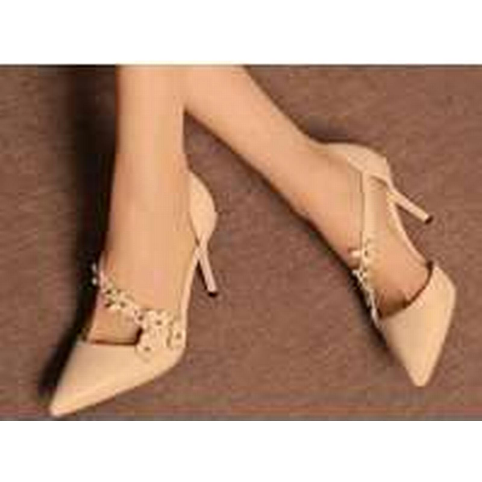 Bonanza (Global) pp328 Amazing 3D leather, flowers ankle pump, genuine leather, 3D size 3-9 beige b10436