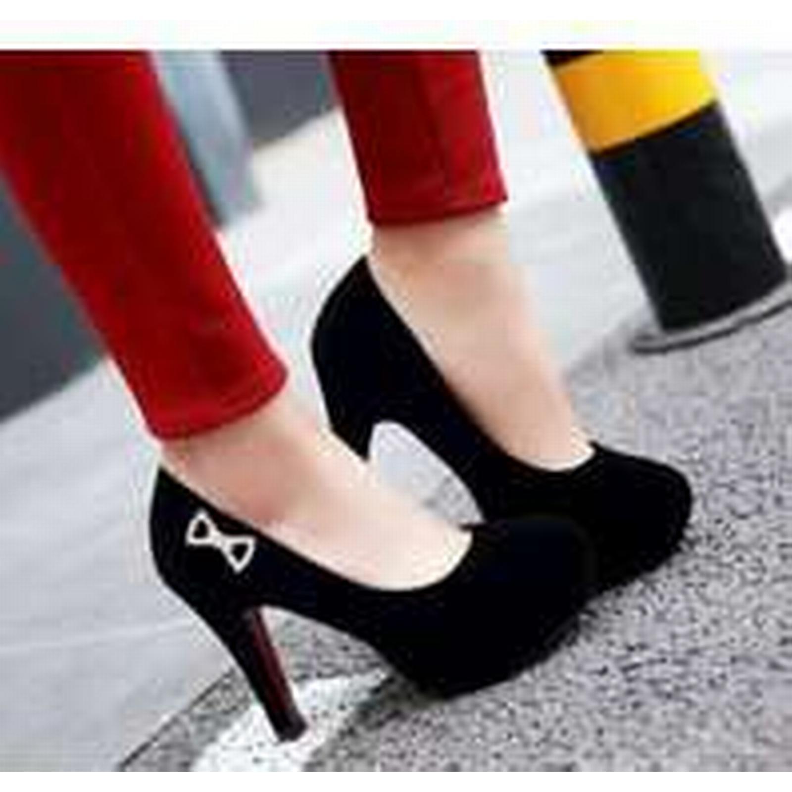 Bonanza color (Global) pp284 elegant candy color Bonanza thick heels pump, US Size 3-10, BLACK aef941
