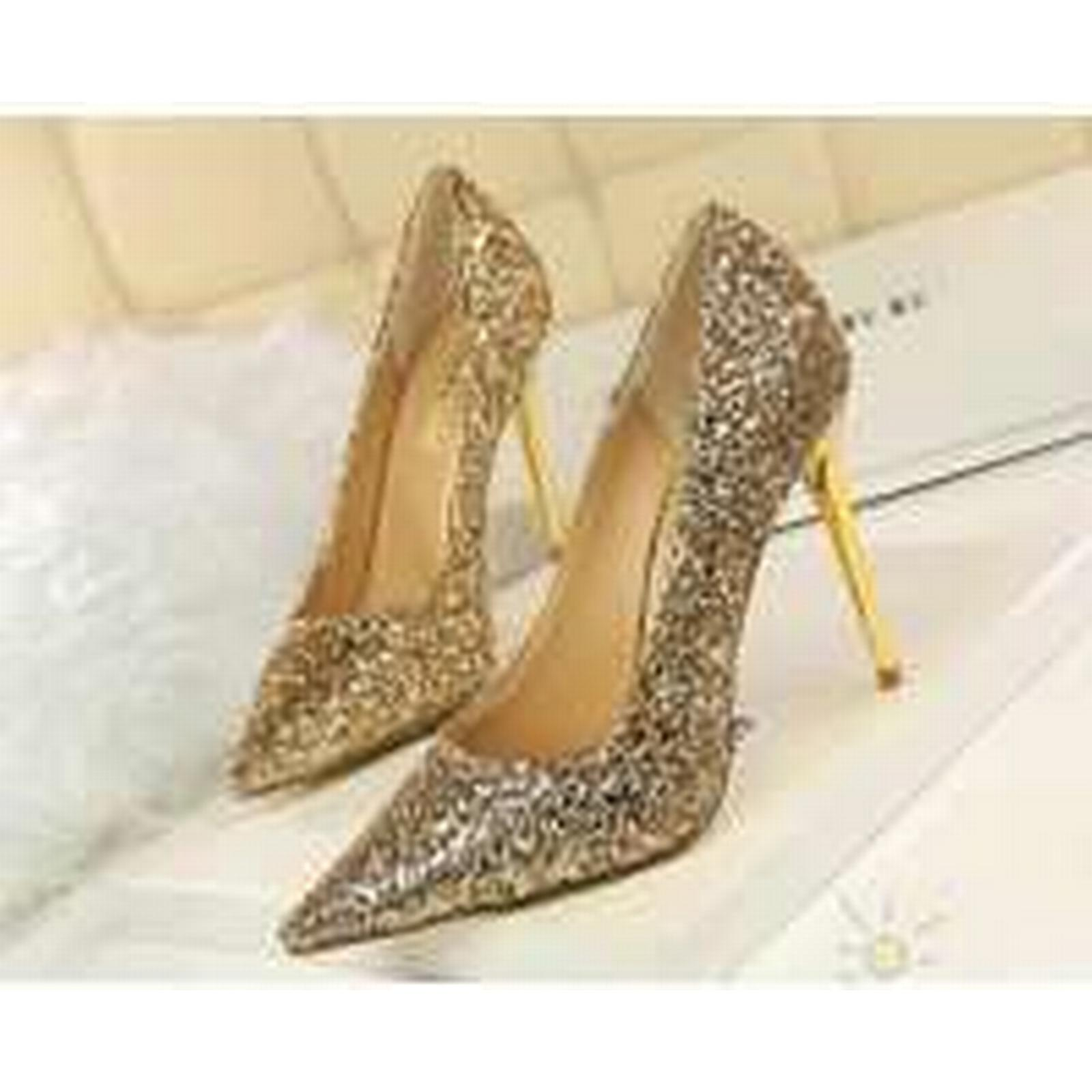 Bonanza (Global) pp340 Luxury sequined pointy pumps, PU gold leather, US Size 4-8.5, gold PU 1f8362