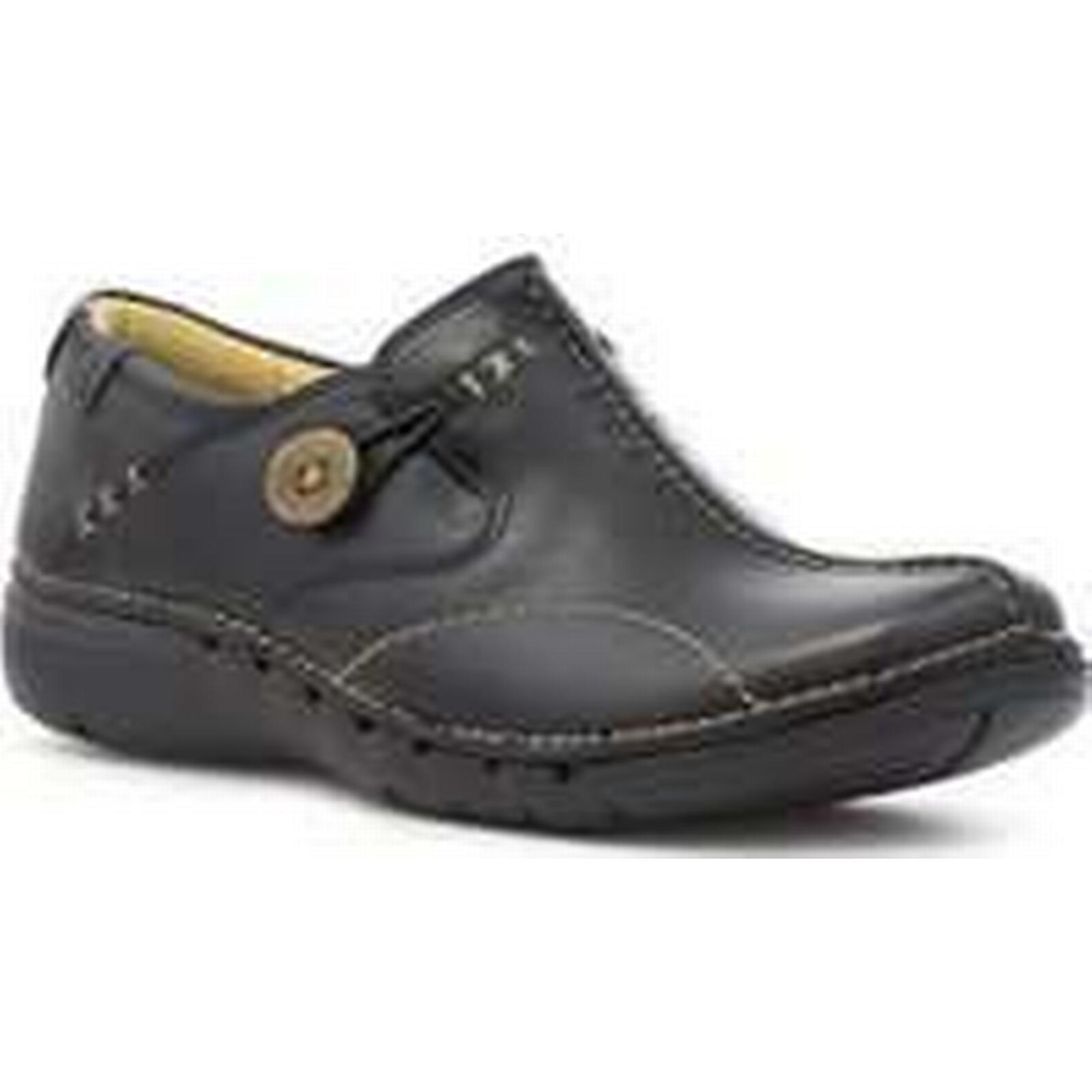 Clarks Womens Black Leather Slip On On Slip Casual Shoe 486519