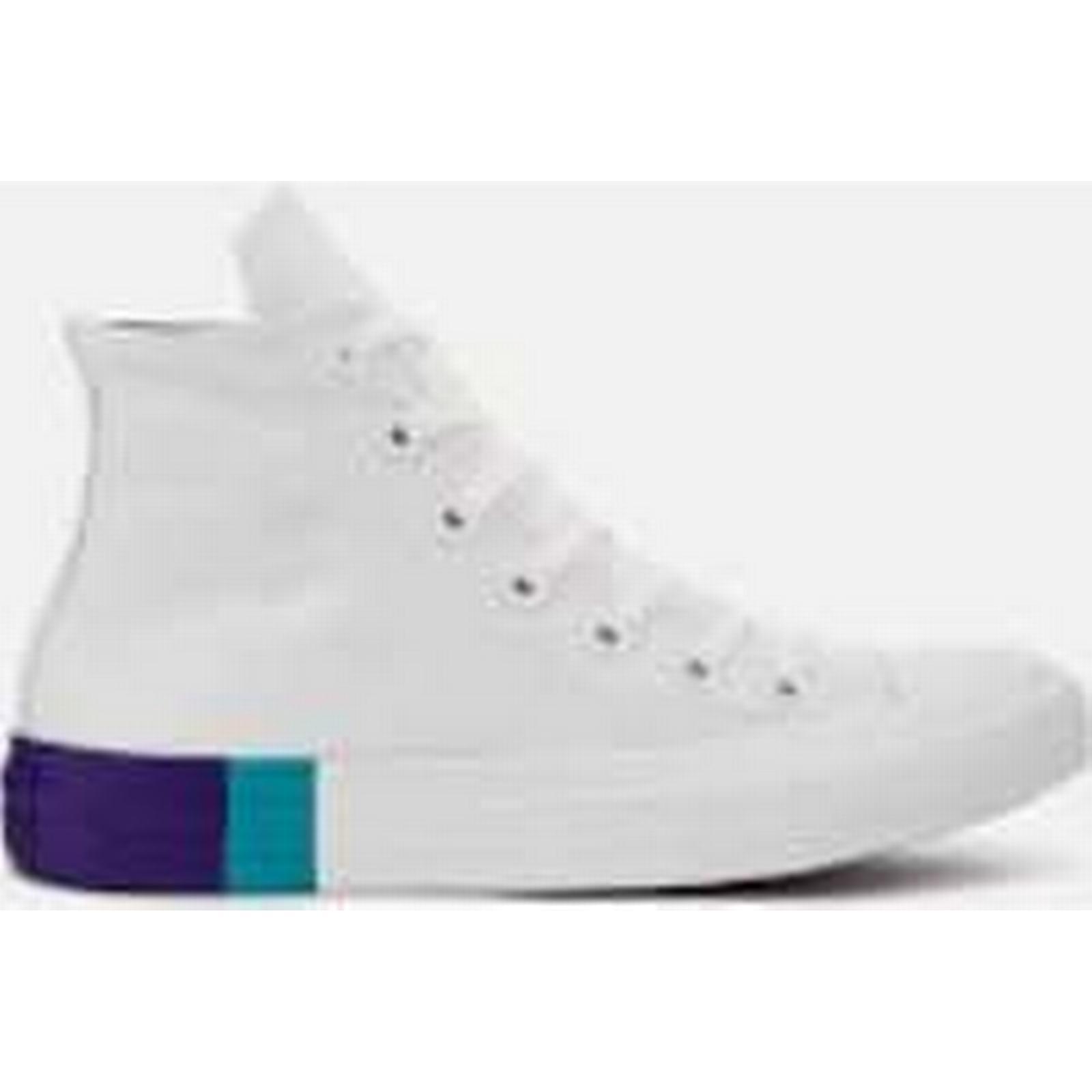 Converse Women's Chuck Taylor All Star Hi-Top Trainers - - White/Enamel Aqua/Court Purple - Trainers UK 6 - White 24ce99