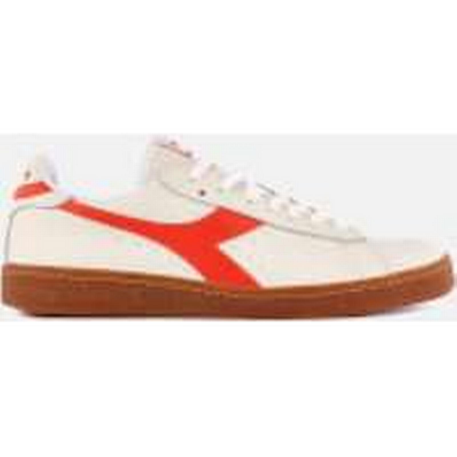 Diadora Men's Game Low L Grained Leather - Trainers - Super White/Tangerine - Leather UK 7 - White 7235e4