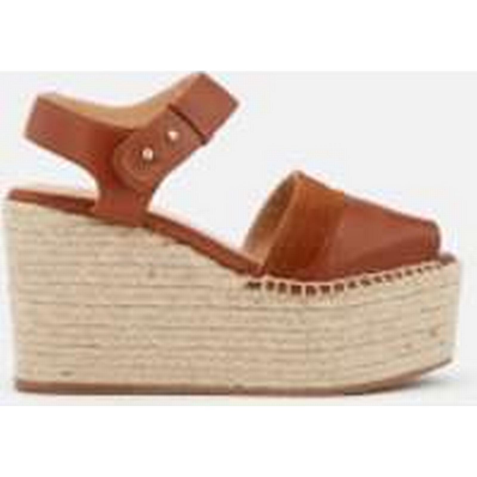 Castañer Women's Enea Leather - Wedged Sandals - Cuero - Leather UK 3 - Tan 6b286b