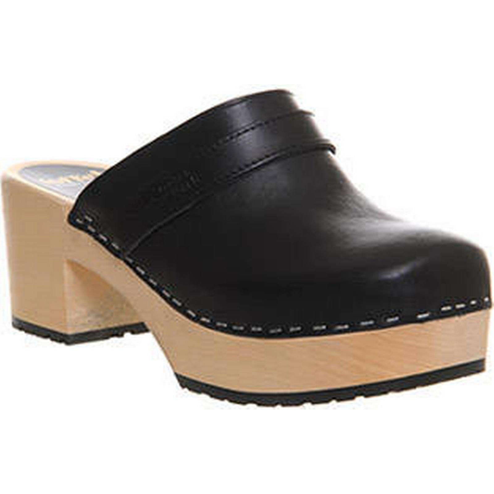 Swedish Hasbeens LEATHER Plateau Slip In BLACK LEATHER Hasbeens 2b1b7c