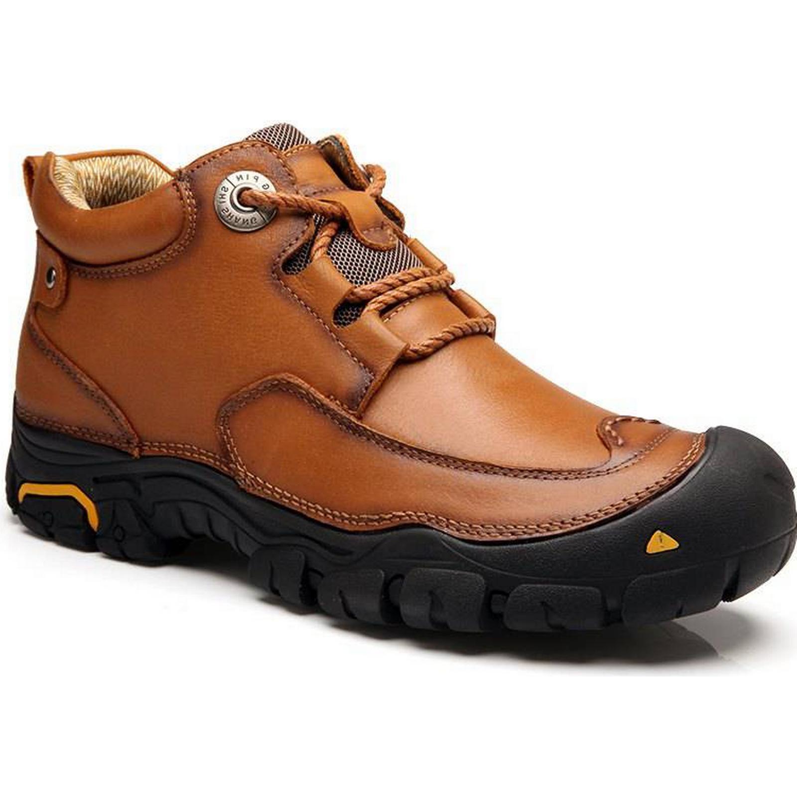 1 Fashion Anti-slip Anti-slip Fashion Mid Top Leather Boots for Men fbc446