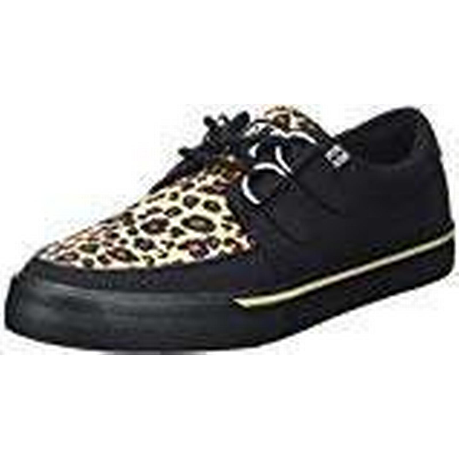 T.U.K. Unisex Adults' VLK D Low Ring Creeper Sneaker Blk/Leopard Low D Black Size: 7 472a69