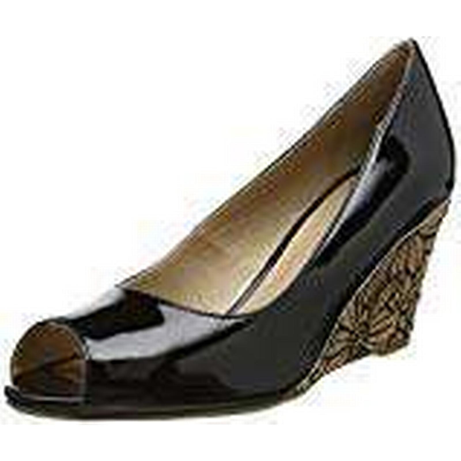 Lotus (Black Women's Cabina Open-Toe Heels, (Black Lotus Patent), 5 UK 38 EU b25645