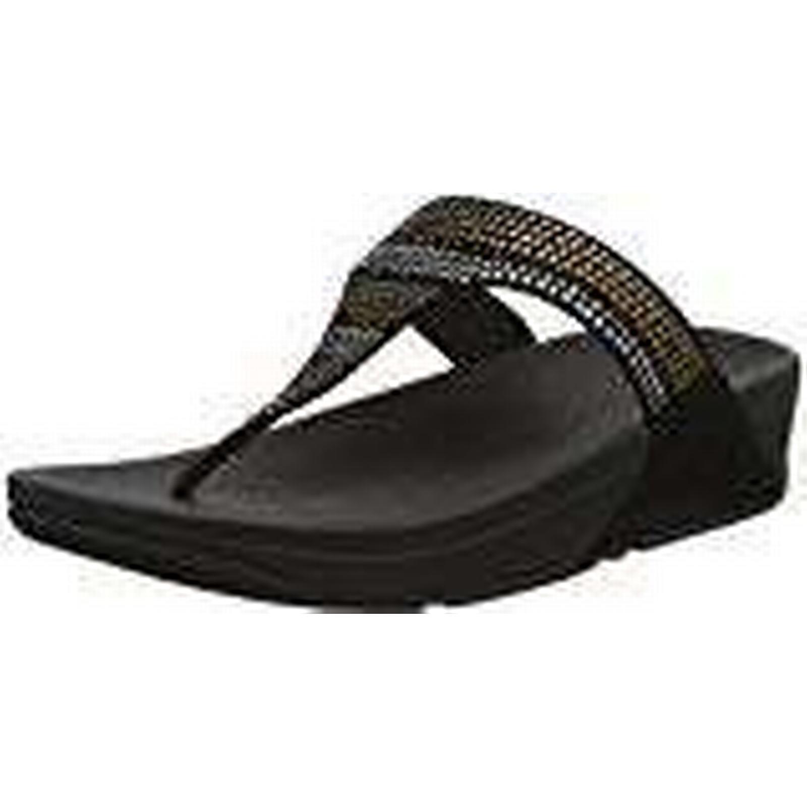 Fitflop Women's Strobe Luxe Toe-Thong UK Sandals Open (Black), 3 UK Toe-Thong 36 EU 89151a