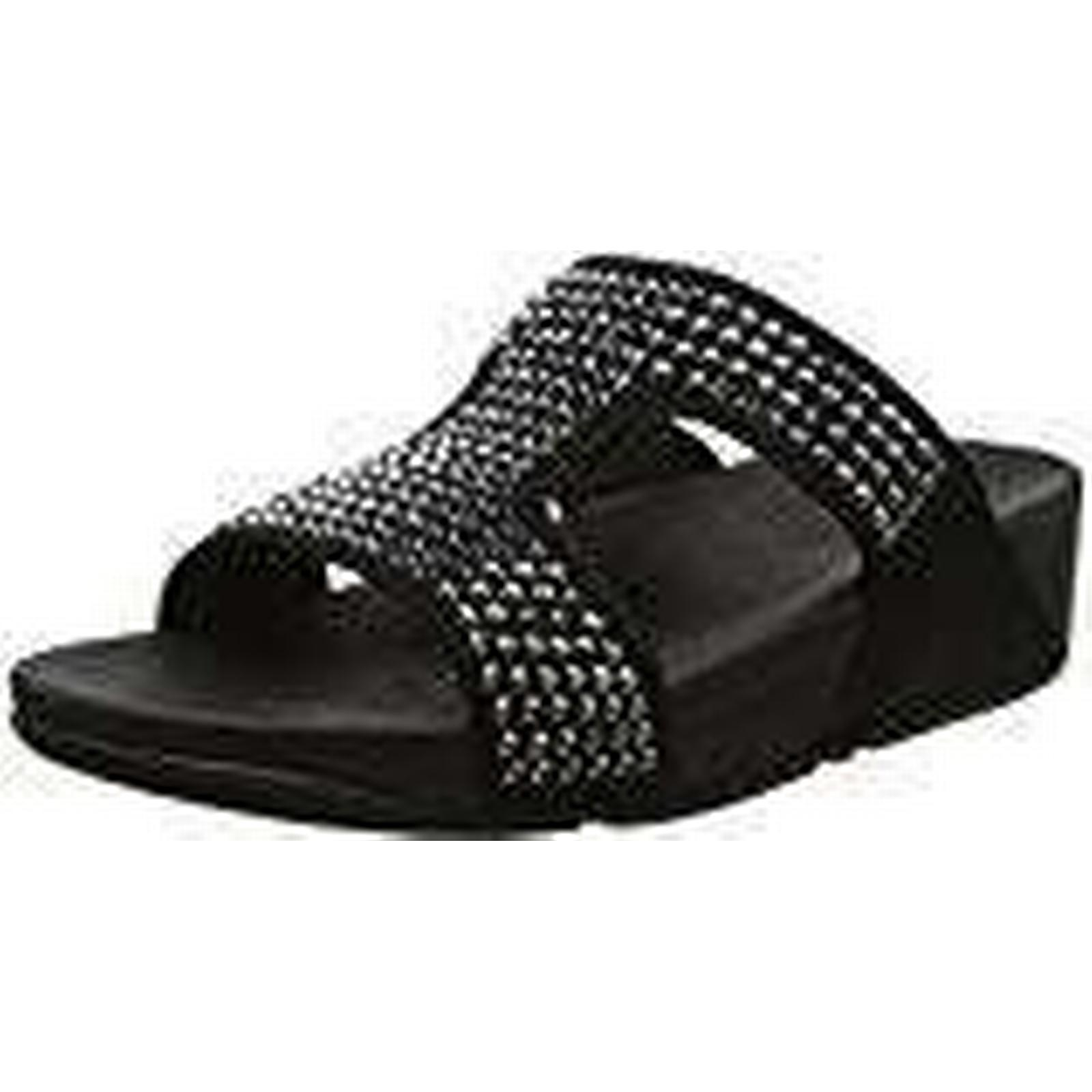 Fitflop Women's Toe GLITZIE Slide Sandals Open Toe Women's (Black), 6 UK 39 EU 4d5604