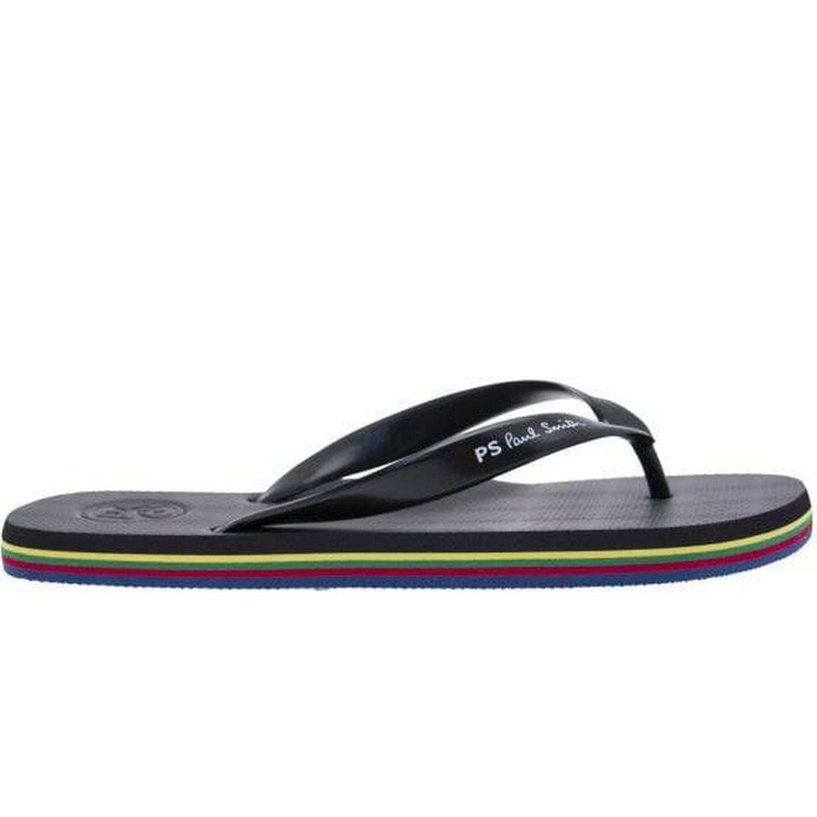 PS Paul Smith Mens Black Logo Flip Flops Size: S S Size: c8fabd