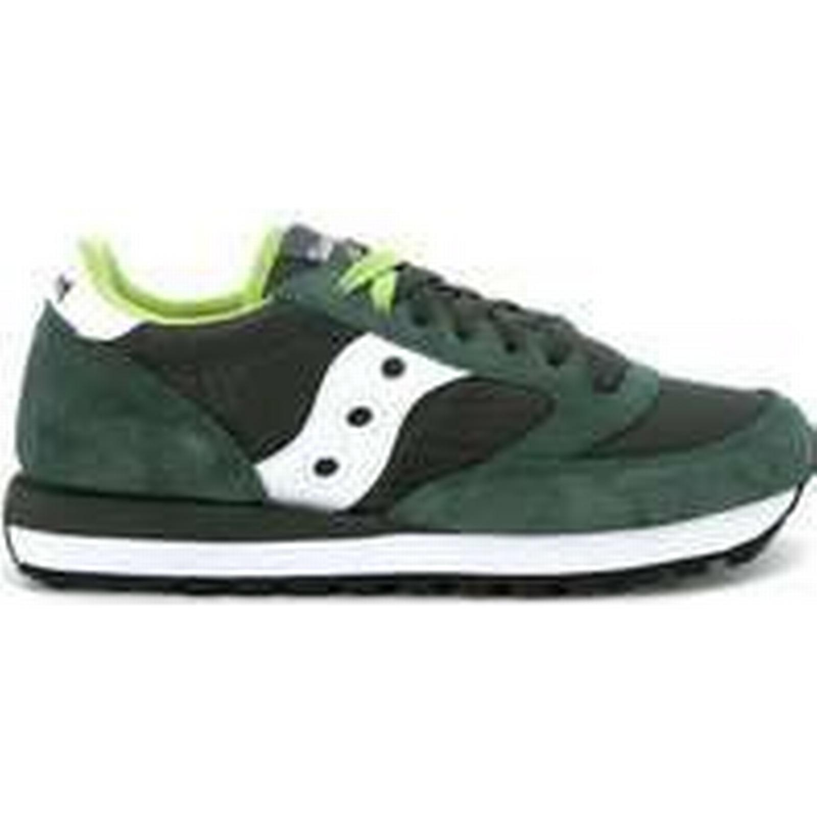 Spartoo.co.uk Saucony model Jazz dark grey suede and (Trainers) nylon sneaker men's Shoes (Trainers) and in Green 7968a8