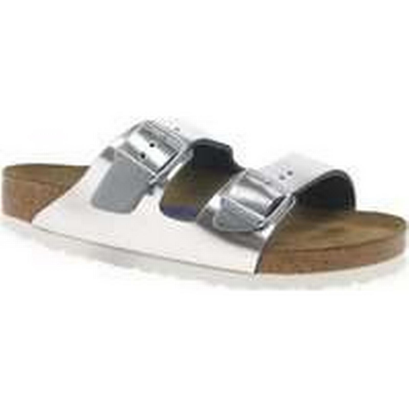 Spartoo.co.uk Sandals Birkenstock Arizona SFB Womens Silver Slide Sandals Spartoo.co.uk women's Sandals in Silver 395578