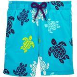 Badshorts Herrkläder Vilebrequin Moorea Multicolor Turtles Swim Shorts Azzure