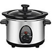 1.5L SLOW COOKER STAINLESS STEEL + REMOVABLE INNER CERAMIC BOWL STEAM GRILL 120W by BARGAINS-GALORE