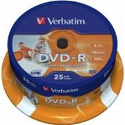 Verbatim DVD-R 4.7GB 16x Spindle 25-Pack Wide Inkjet