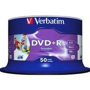 Verbatim DVD+R No ID Brand 4.7GB 16x Spindle 50-Pack Wide Inkjet