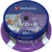 Verbatim DVD+R 4.7GB 16x Spindle 25-Pack Wide Inkjet