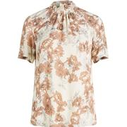 Y.A.S High Neck Floral Printed Short Sleeved Blouse Beige/Oatmeal (26006695)