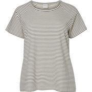 Junarose Striped Short Sleeved Shirt White/Snow White