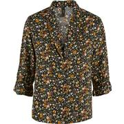 Y.A.S Floral 3/4 Sleeved Shirt Black/Black (26009018)