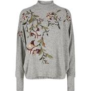 Y.A.S Batwing Embroidery Long Sleeved Top Grey/Light Grey Melange