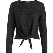 Pieces Long Sleeved Wool Blouse Grey/Dark Grey Melange