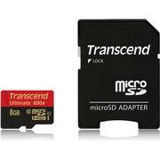 Transcend Ultimate microSDHC Class 10 UHS-I U1 8GB +Adapter