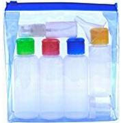 10 Nice Things TRAVEL BOTTLES SET Airport Compliant 100 ml Liquid Containers. Coloured Lids. Leak Proof. Soft plastic - Squeezable/Refillable. Clear see-through Toiletry Bag. Suitable for carry on Hand Luggage.