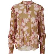 Y.A.S Floral Mesh Flounce Blouse Yellow/Golden Spice (26010553)